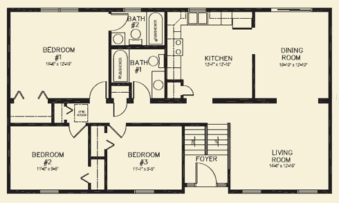 Ranch homes floor plans for 3 bed 2 bath ranch floor plans